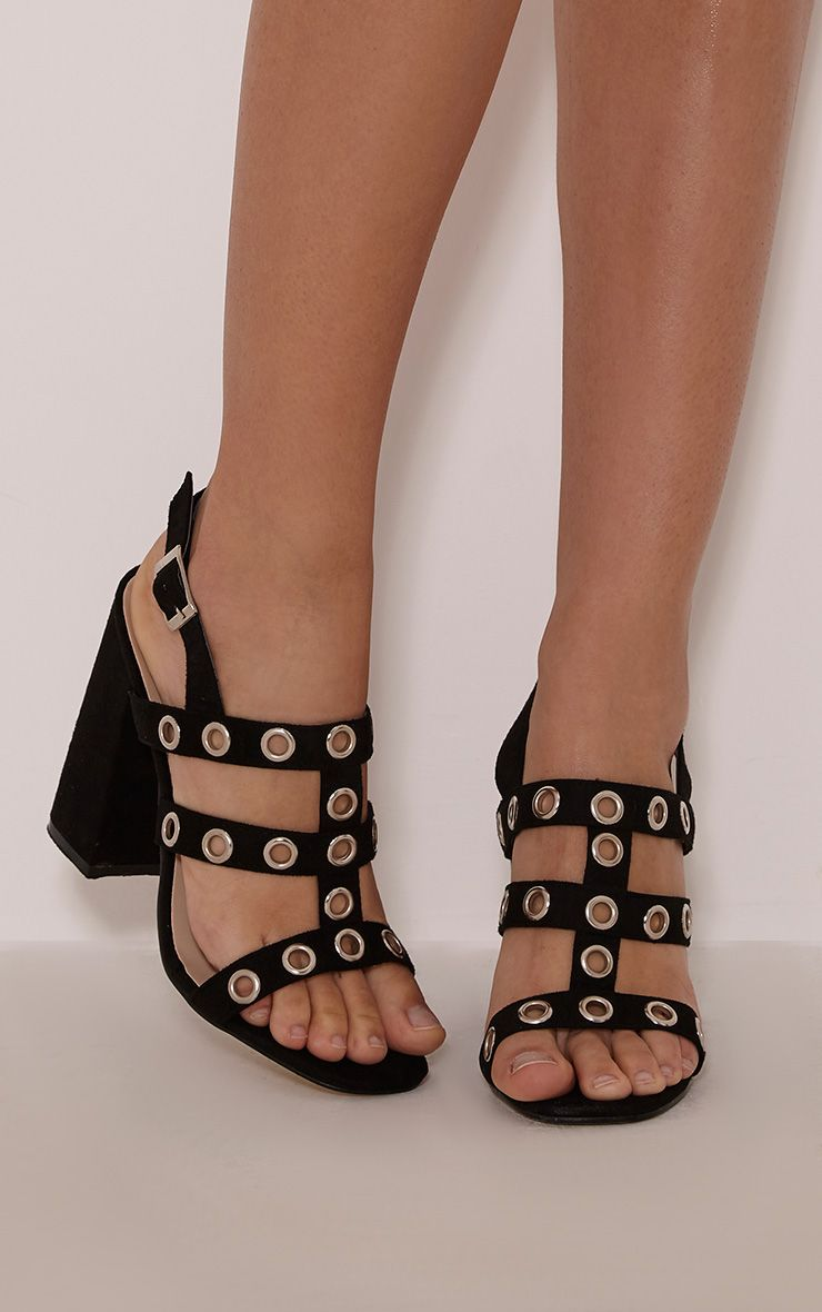 Ray Black Faux Suede Eyelet Detail Heeled Sandals