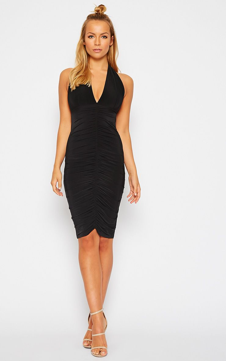 Lucienne Black Plunge Ruched Front Dress 1