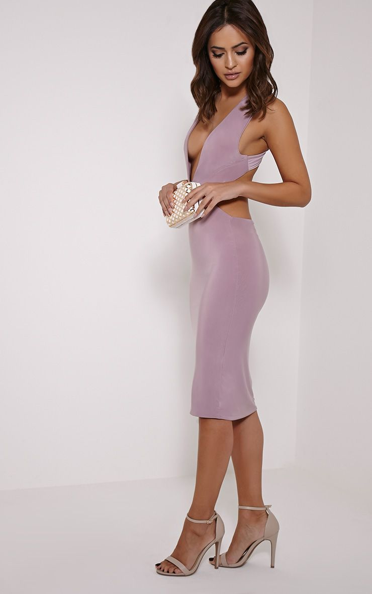 Biddy Mauve Deep V Plunge Cross Back Midi 1