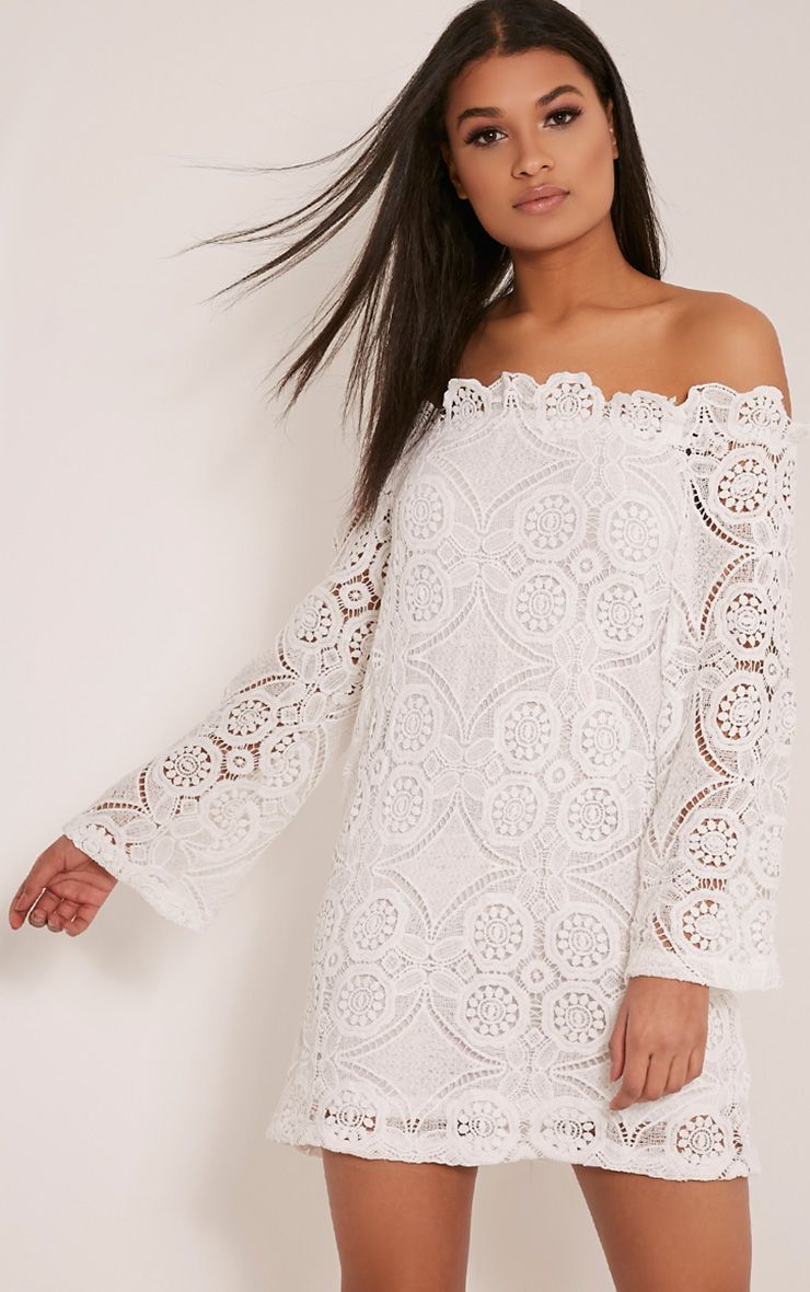 Gracie White Bardot Lace Swing Dress