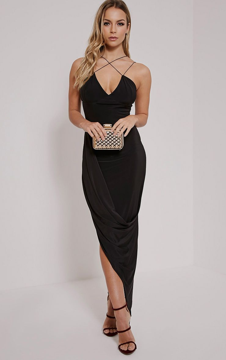 Velma Black Double Strap Ruched Midi Dress 1