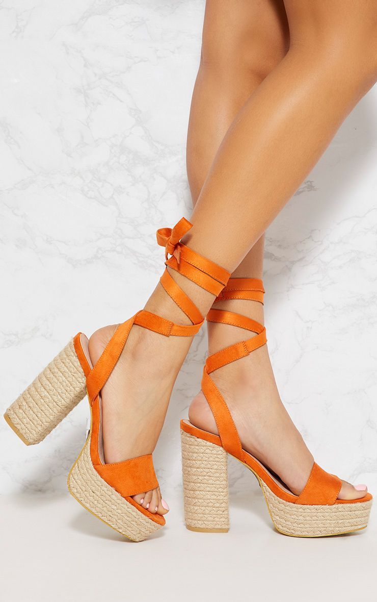 Orange Double Platform Espadrille Leg Tie Sandal