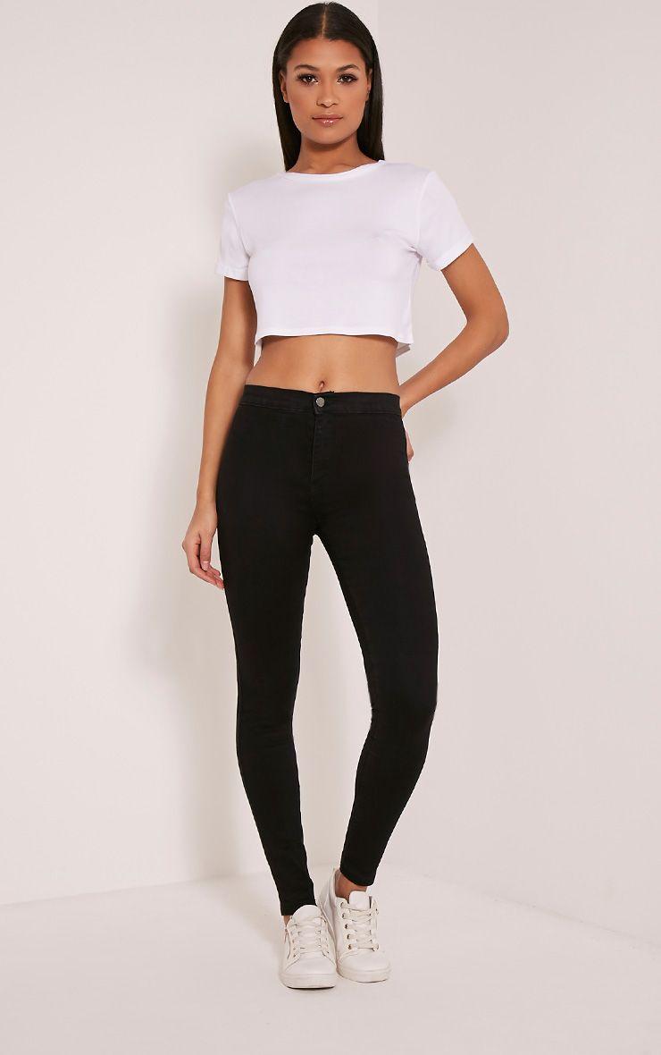 Kylie Black Mid Rise Skinny Jeans