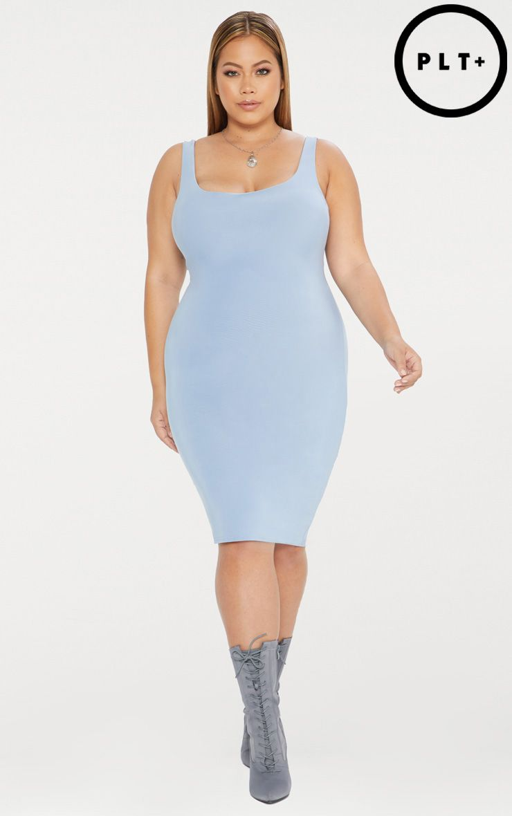 Plus Dusky Blue Second Skin Double Layered Slinky Scoop Neck Midi Dress