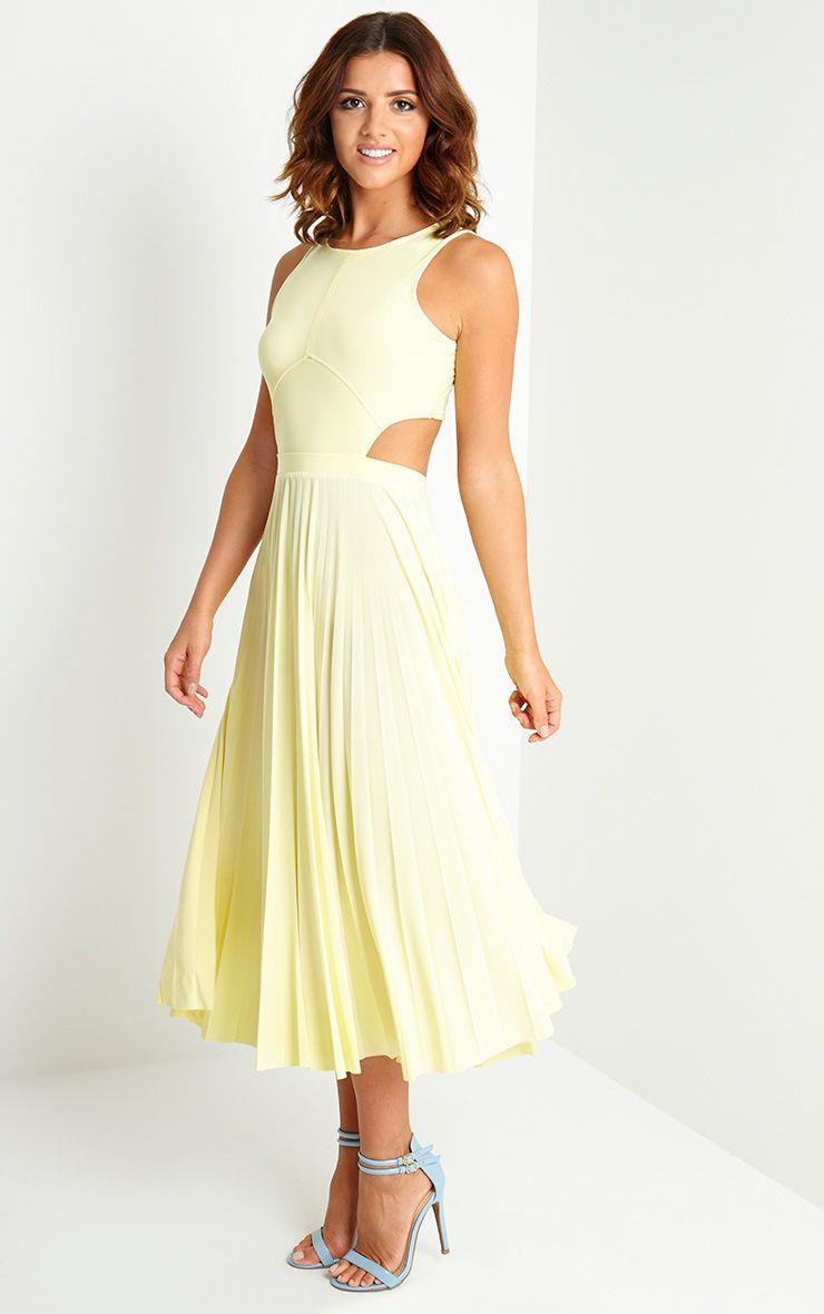 Ebony Lemon Cut Out Pleated Midi Dress 1