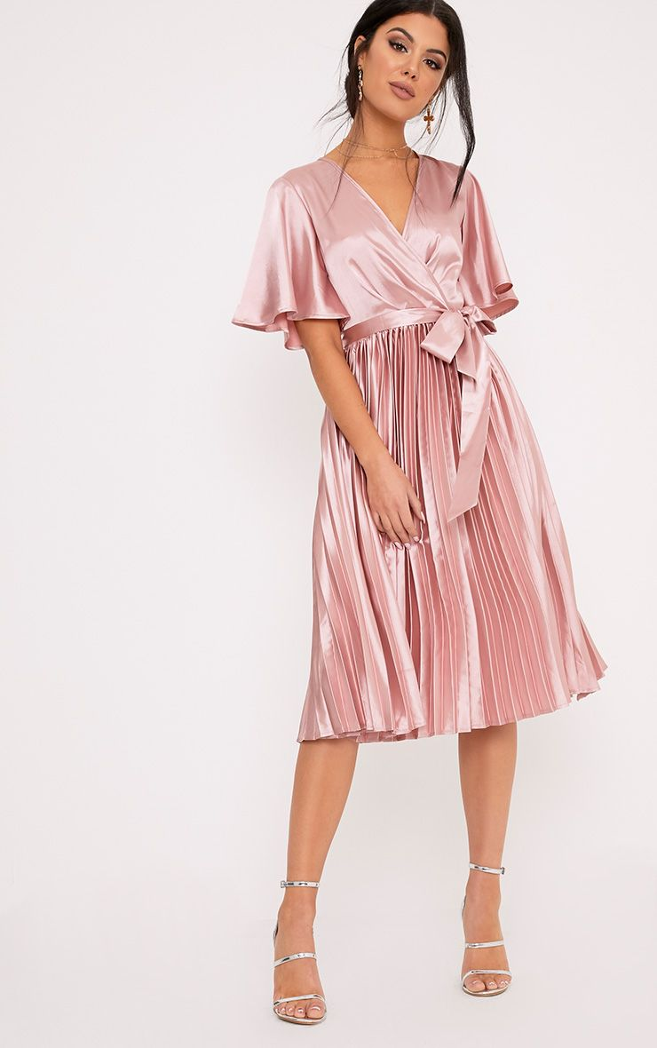 Mairee Dusty Pink Satin Pleated Midi Dress 1