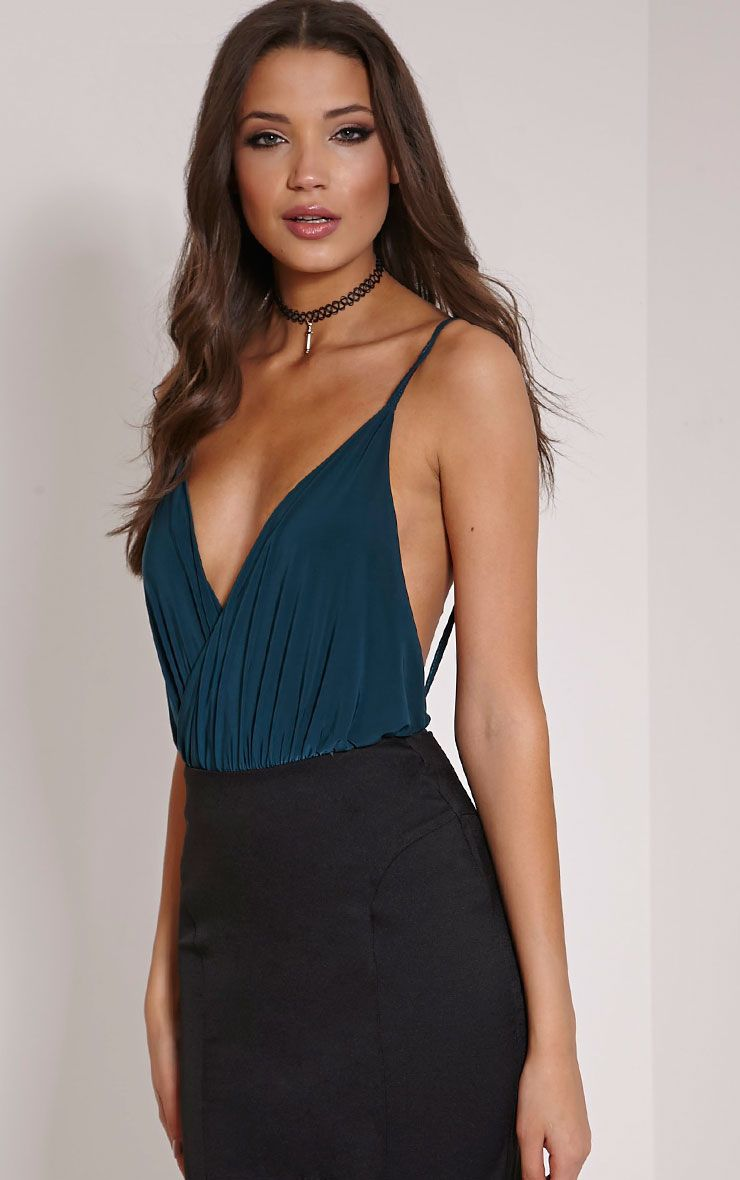 Leander Teal Slinky Backless Bodysuit 1
