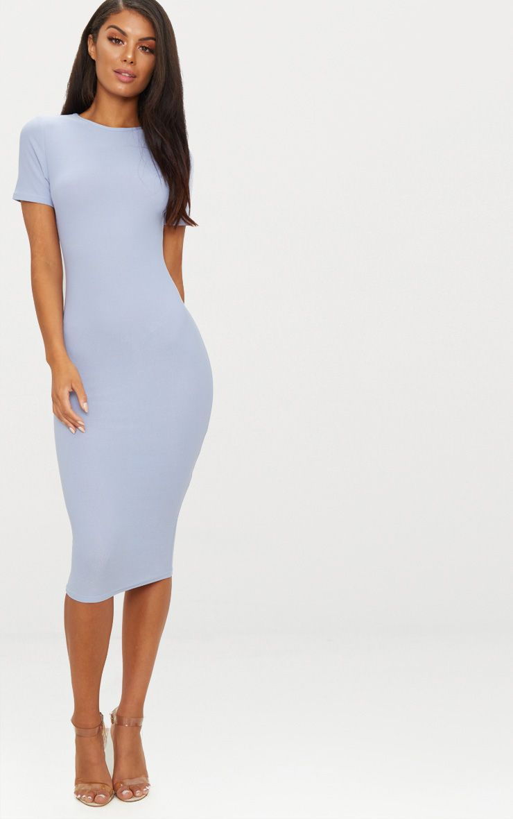 Dusky Blue Cap Sleeve Midi Dress