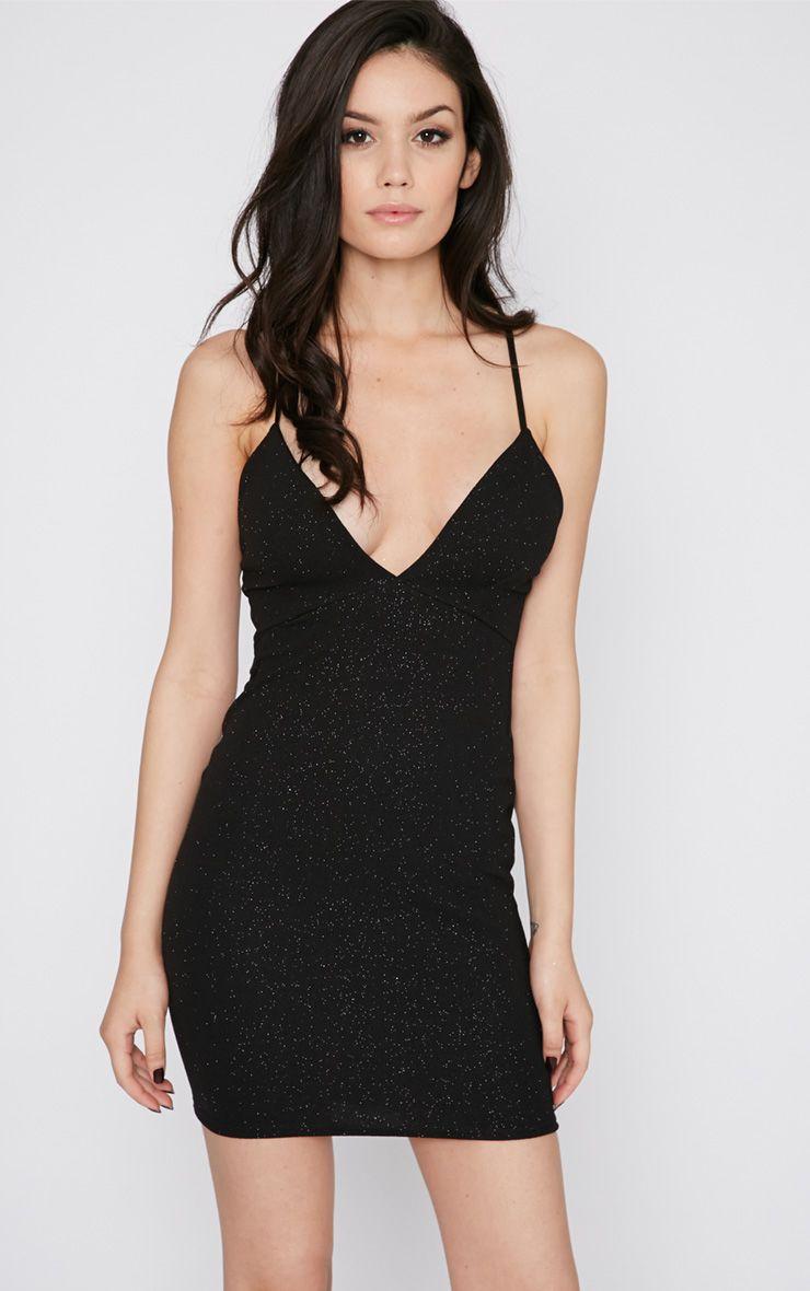 Dakotah Black Glitter Plunge Mini Dress 1