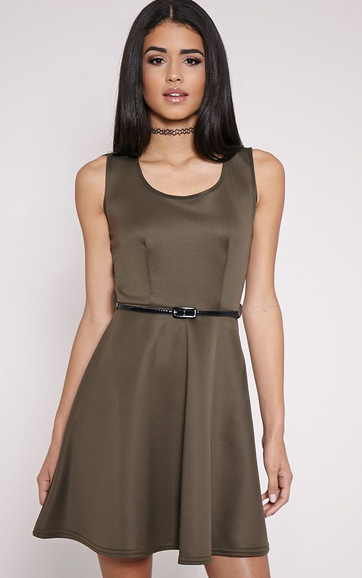 Monique Khaki Belted Skater Dress 1