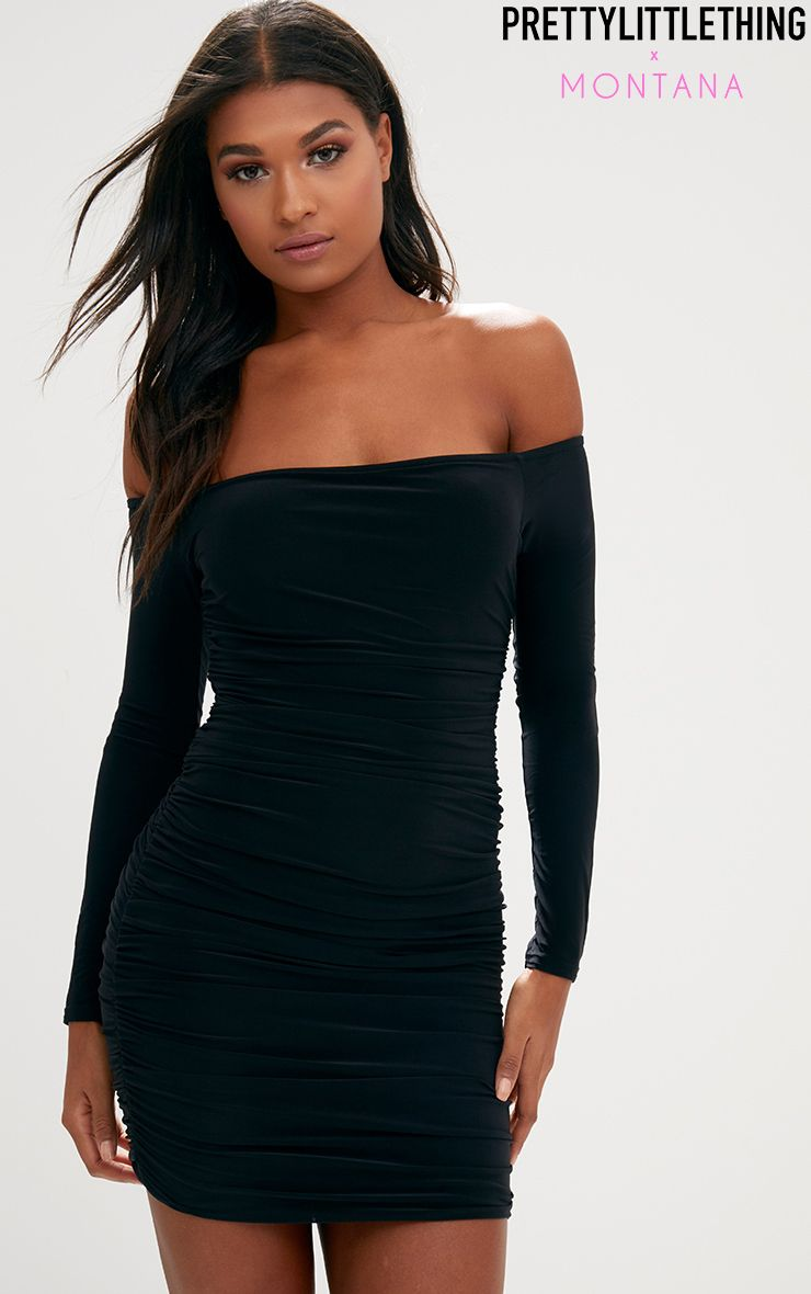 Black Ruched Bardot Bodycon Dress