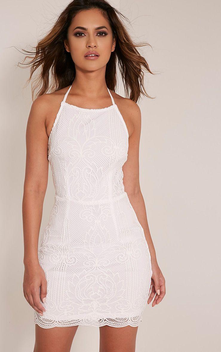 Sassia White Halterneck Strappy Back Lace Dress