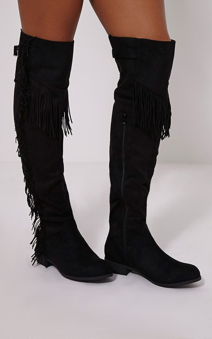Amorie Black Tassle Side Flat Faux Suede Thigh Boots 1