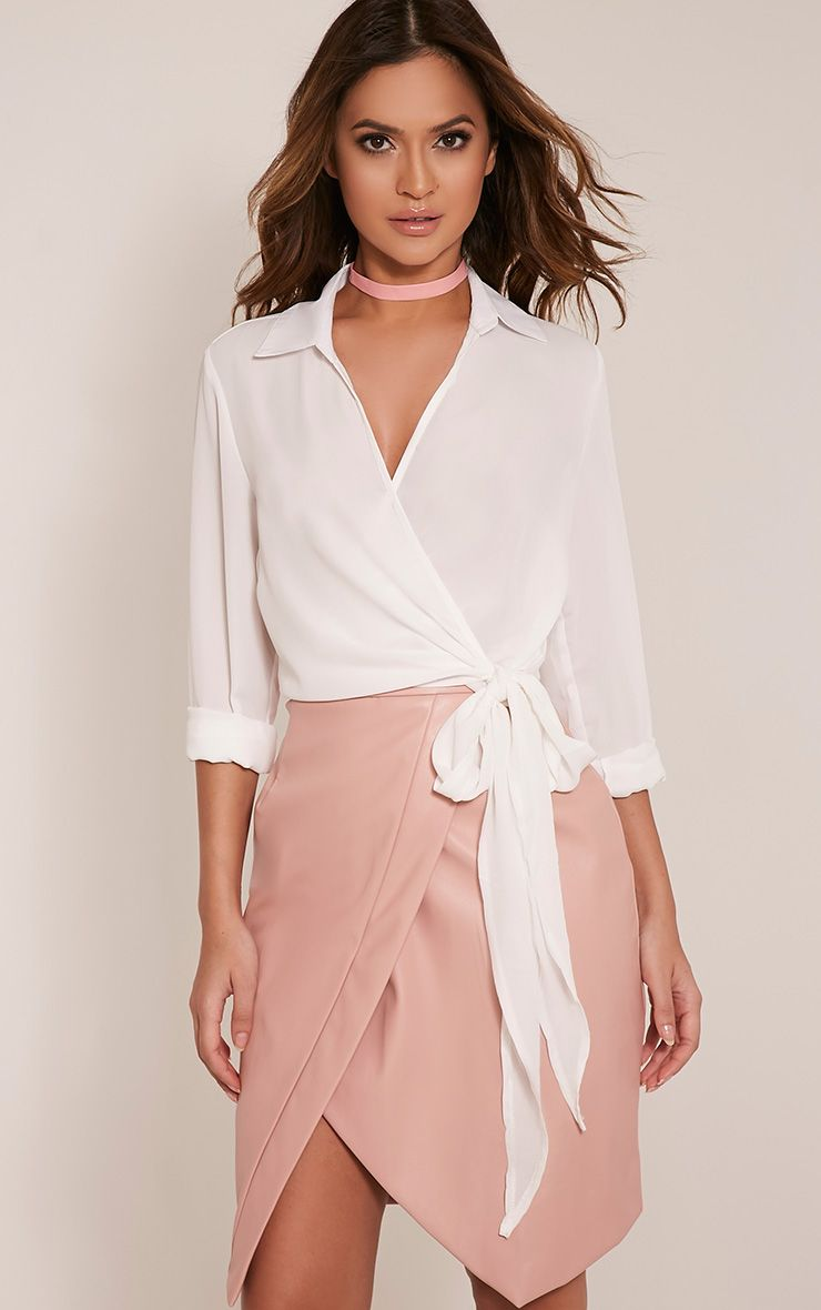 Avalyn Cream Wrap Front Tie Side Blouse
