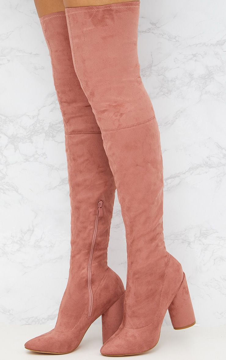 Blush Faux Suede Thigh High Round Heeled Boots