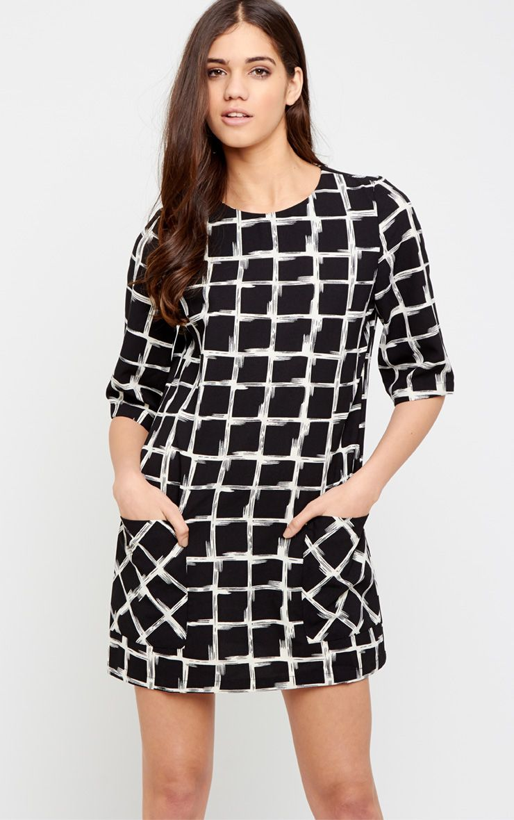 Agni Black Check Shift Dress 1