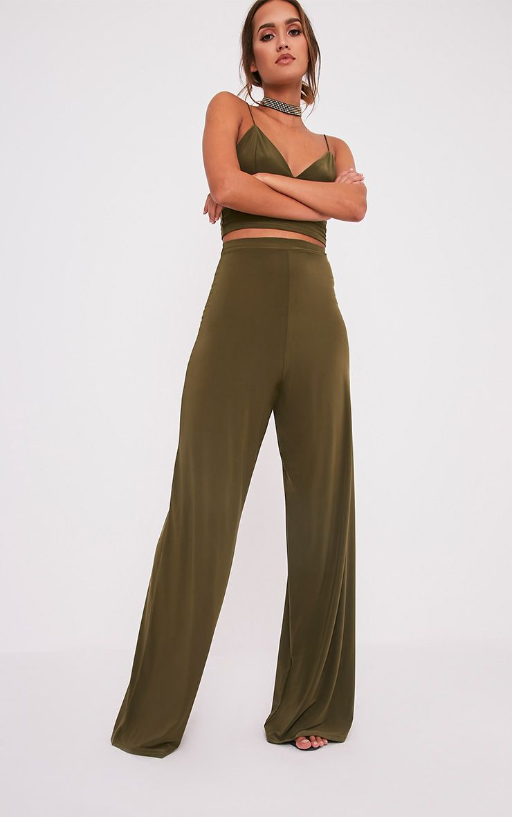 Jill Khaki Slinky Palazzo Trousers 1