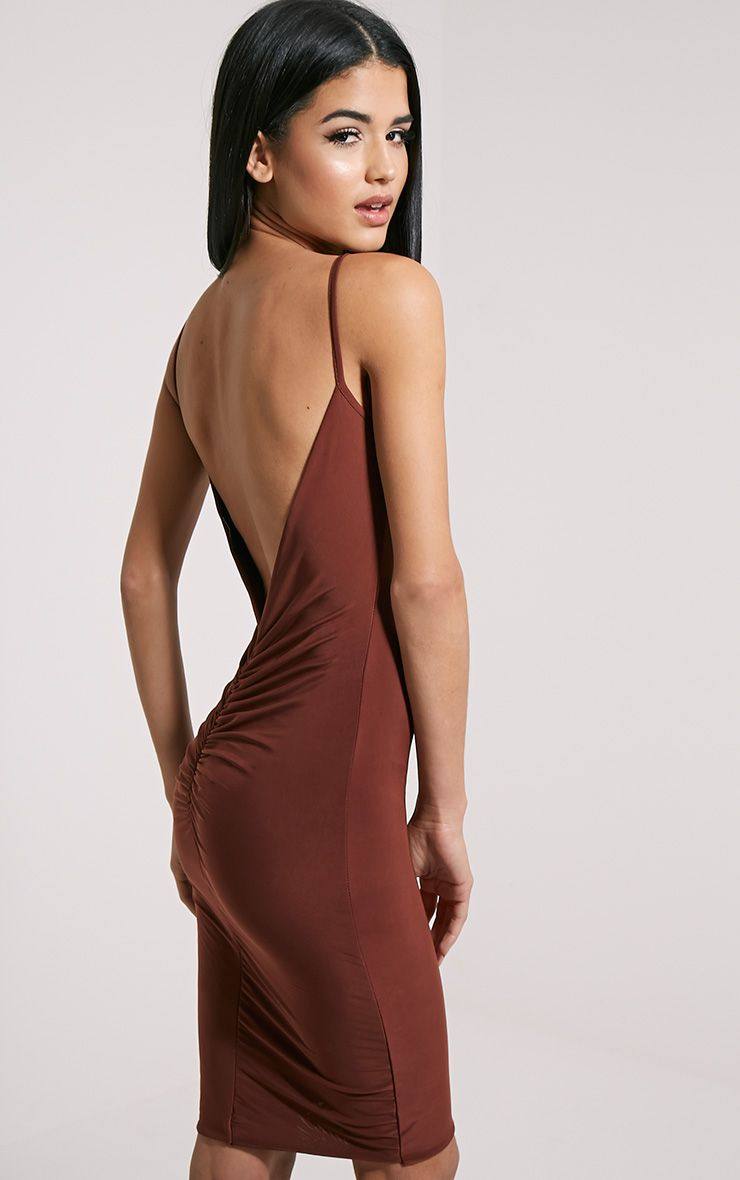 Zameen Brown Ruched Back Slinky Midi Dress 1