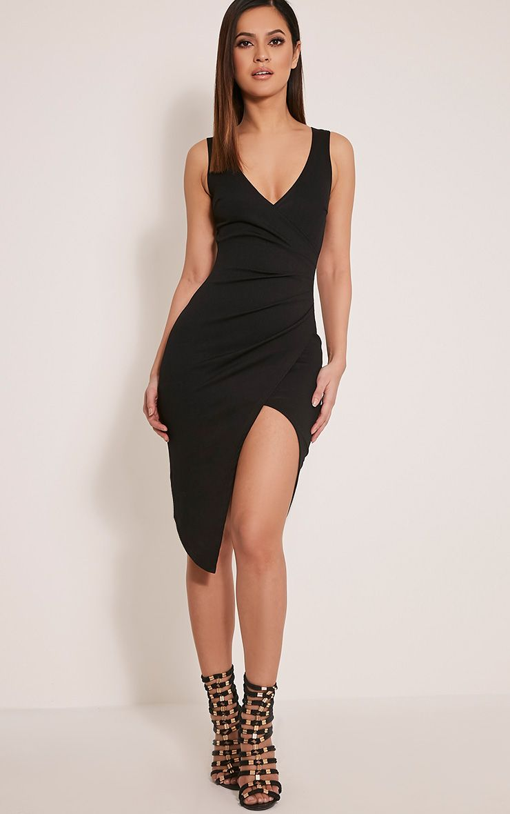 Karley Black Wrap Front Crepe Midi Dress 1