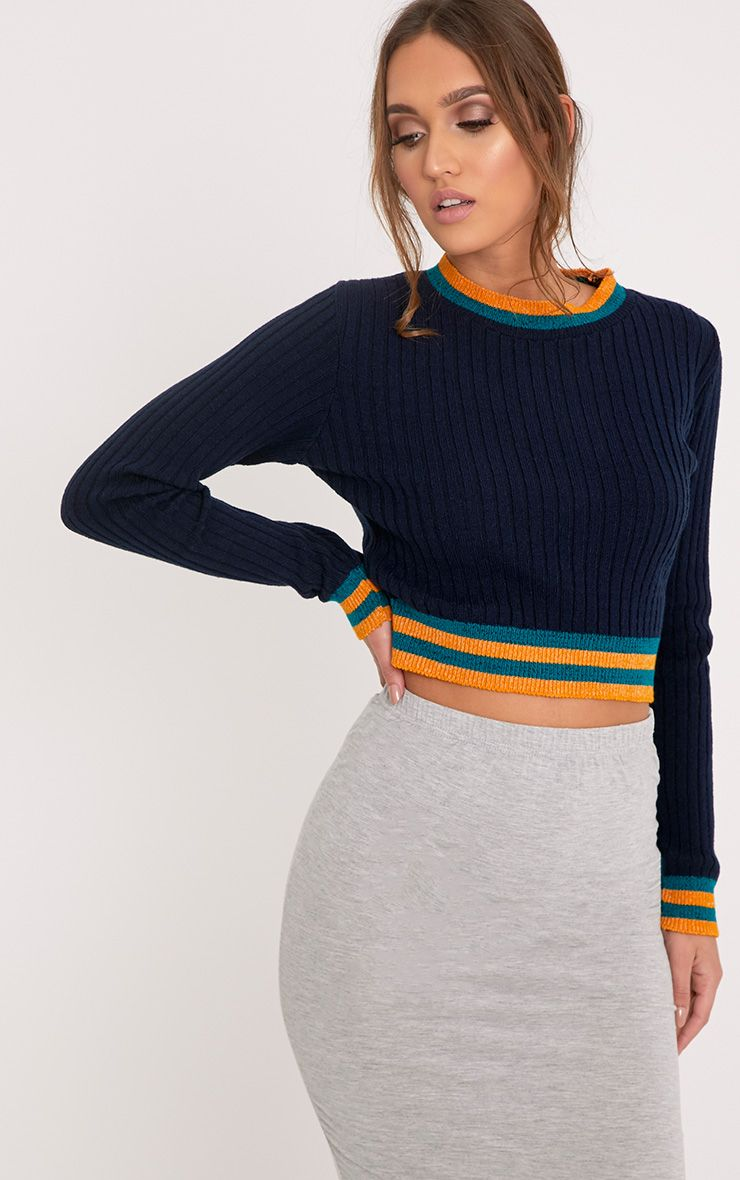 Zofia Navy Tipped Knitted Crop Top 1