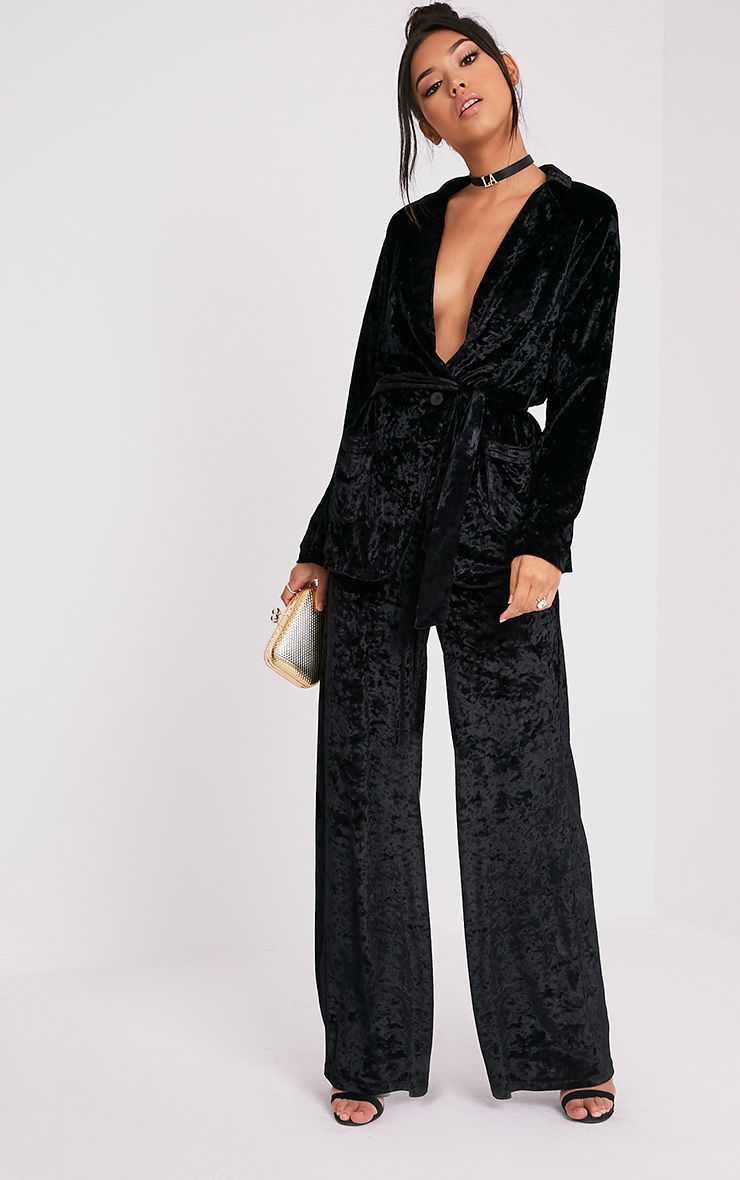 Marisha Black Crushed Velvet Wide Leg Trousers