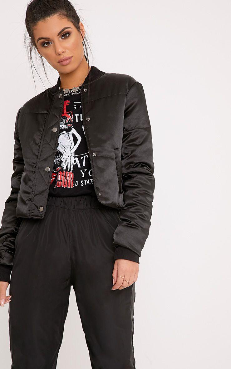 Mariem Black Cropped Satin Padded Jacket