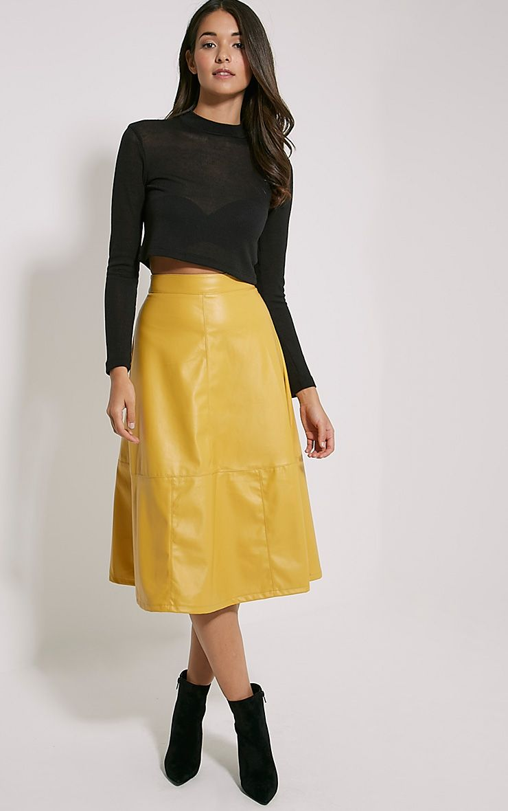 Alison Mustard Faux Leather A-Line Midi Skirt 1