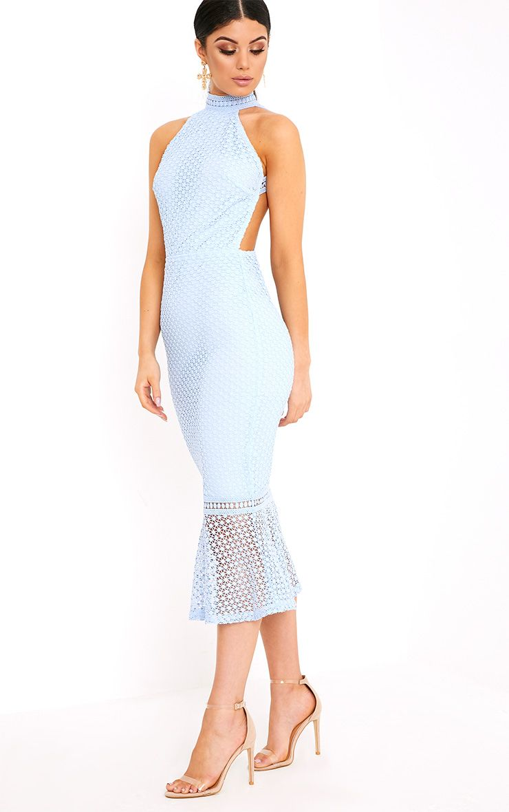 Kymmie Dusty Blue Lace High Neck Midi Dress