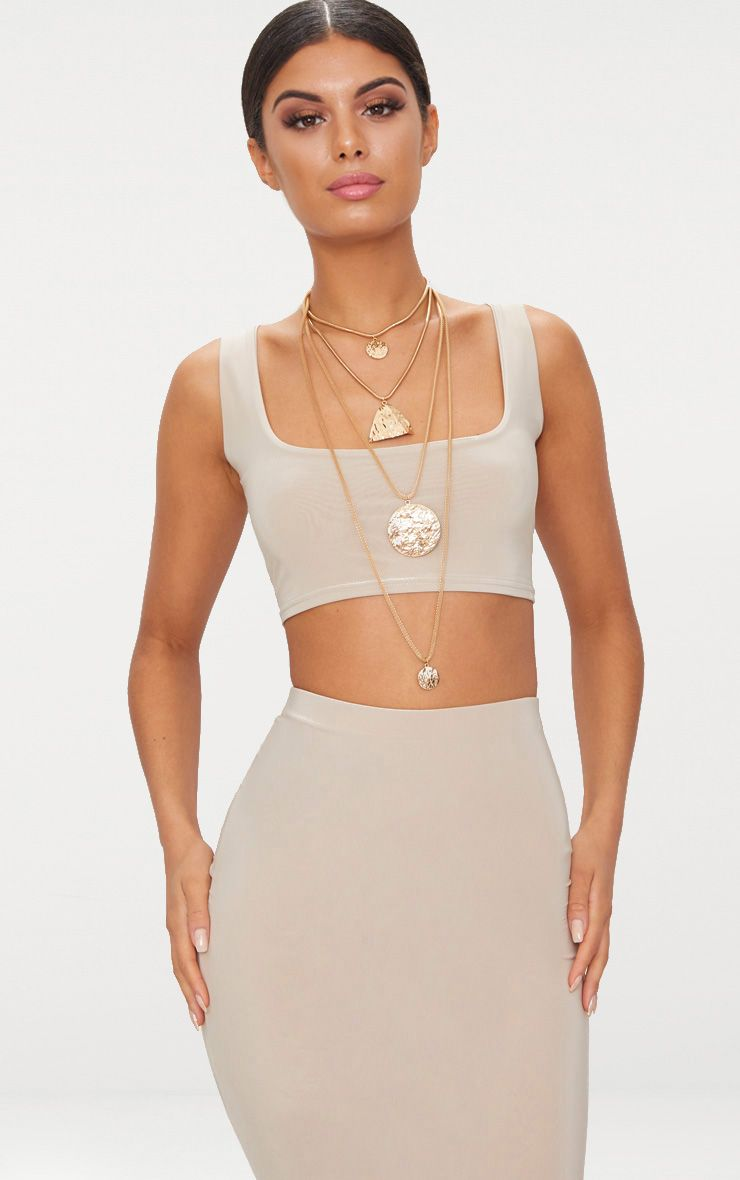 Stone Slinky Round Neck Sleeveless Crop Top