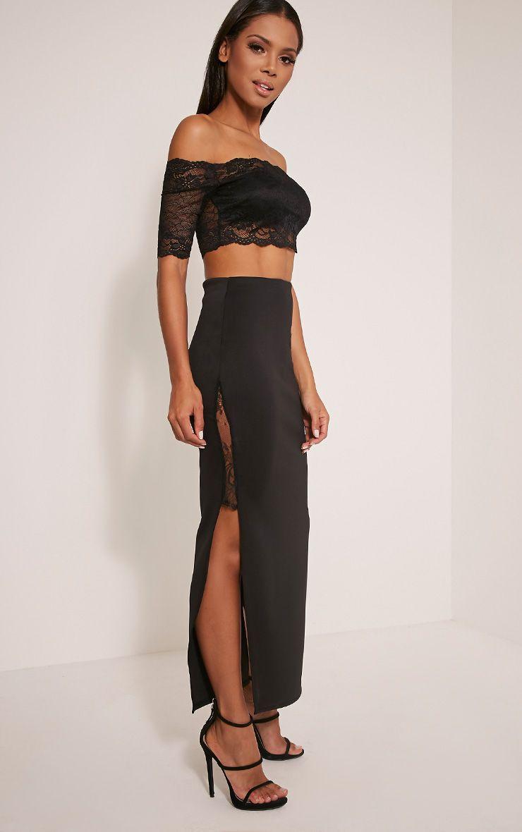 Shelly Black Lace Split Maxi Skirt 1