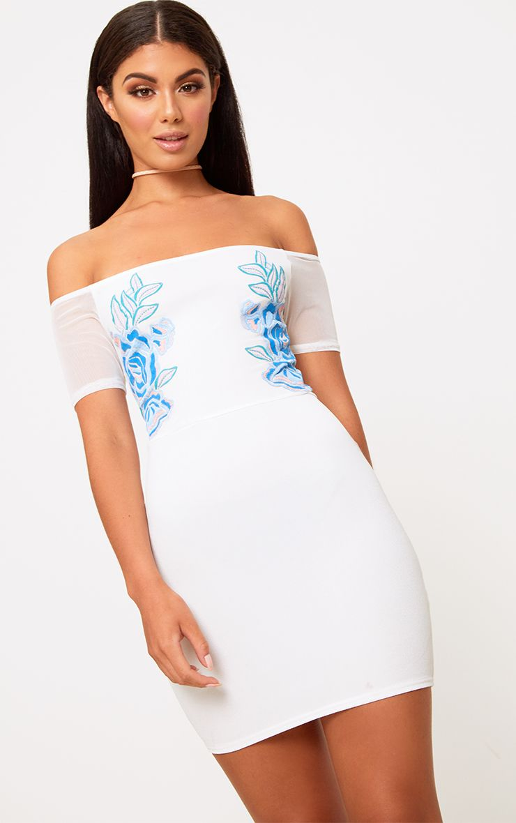 White Mesh Top Floral Detail Bodycon Dress
