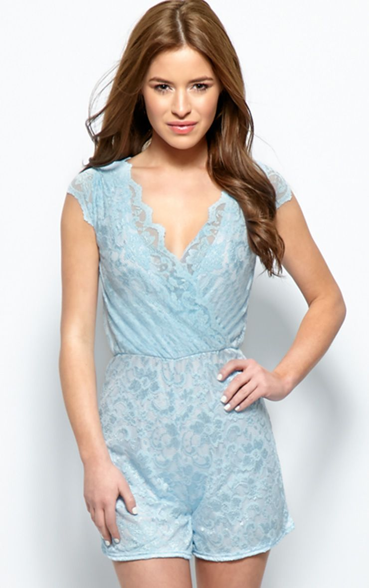 Leila Blue Lace Playsuit 1