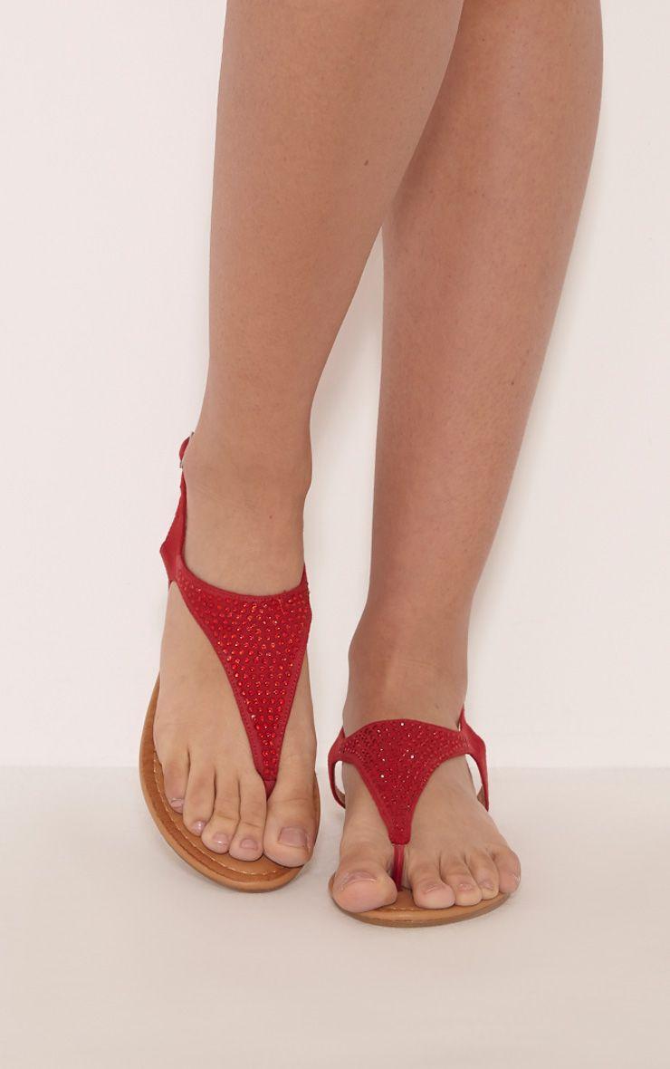 Kerina Red Embellished Sandals