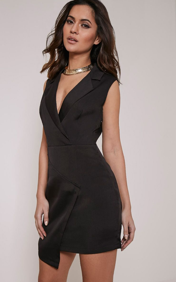 Sarabi Black Sleeveless Blazer Style Dress 1