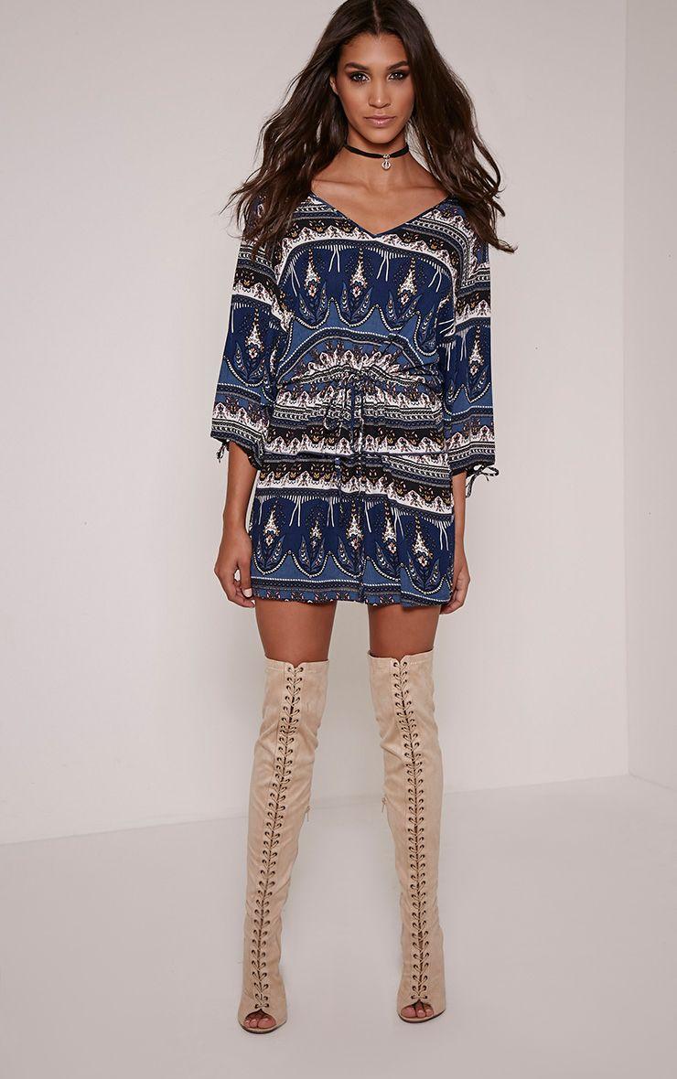 Zelle Navy Aztec Tunic Dress 1