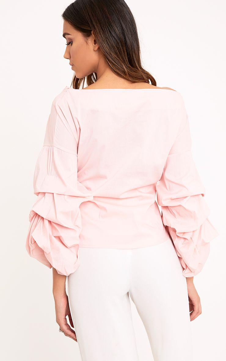 Delanie Baby Pink Puff Sleeve Off Shoulder Tie Waist