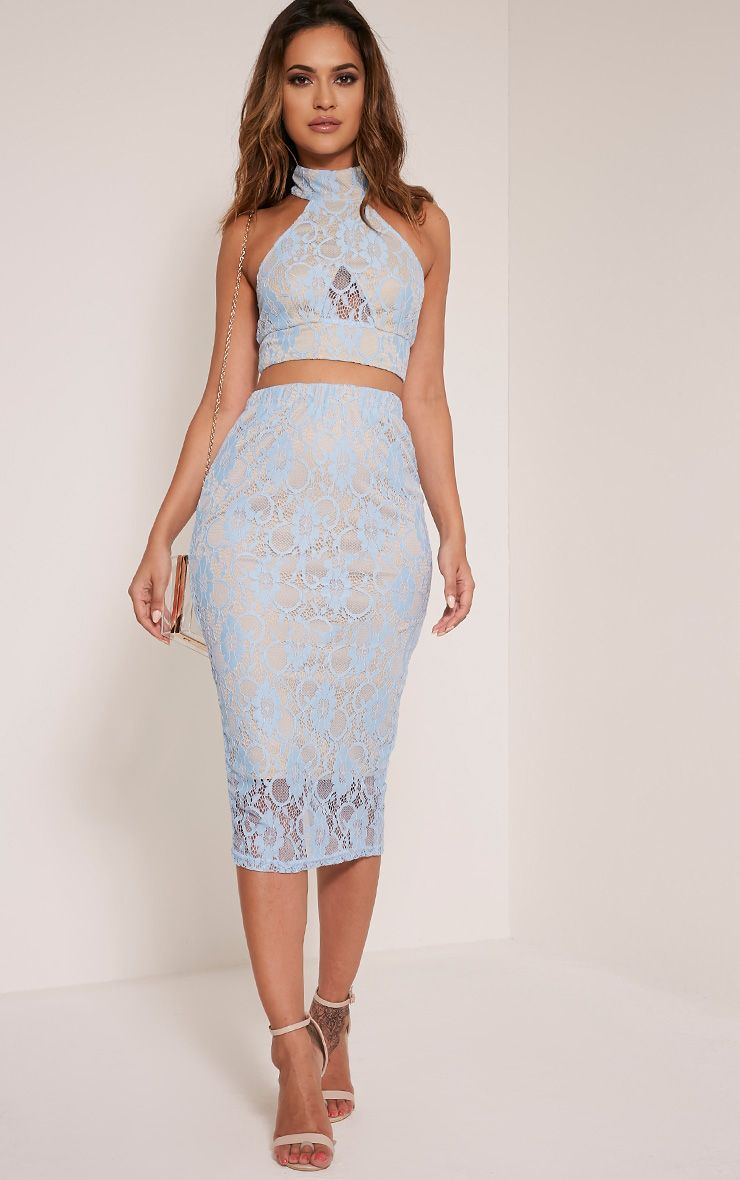 Anura Powder Blue Lace Midi Skirt