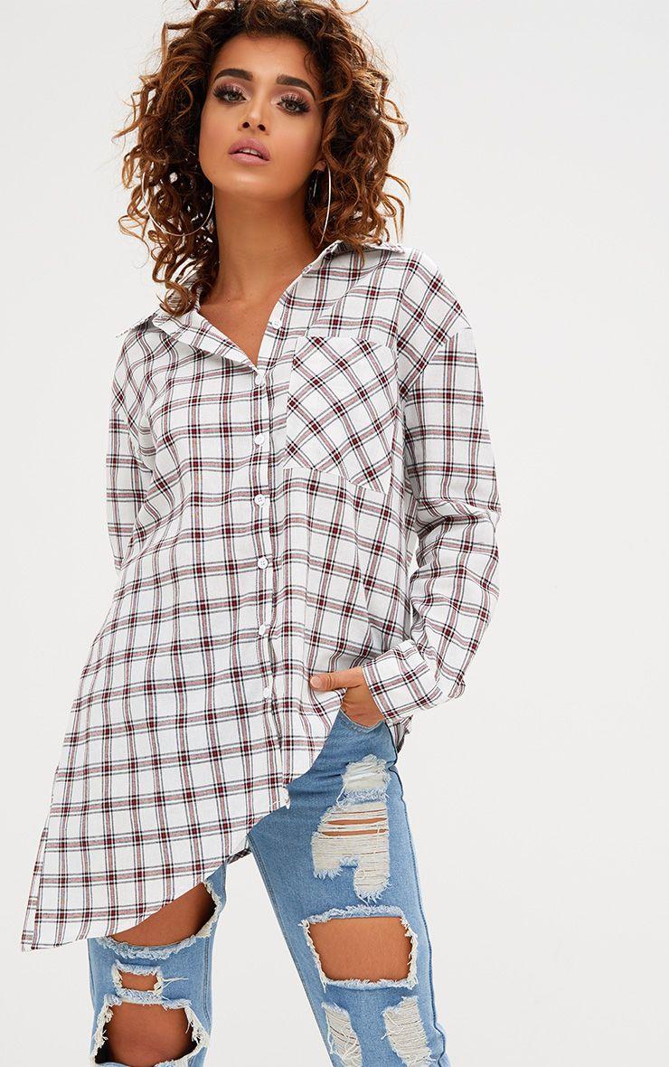 White Check Oversized Asymmetric Hem Shirt