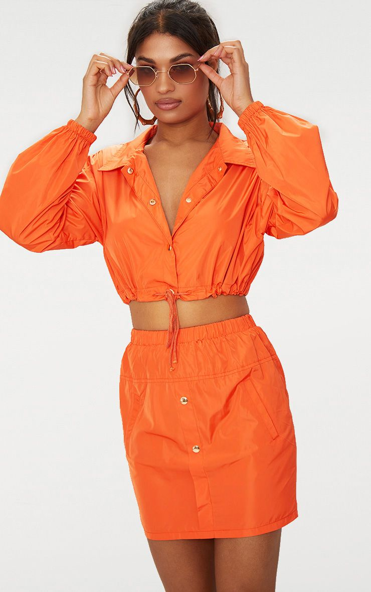 Orange Shell Suit Mini Skirt