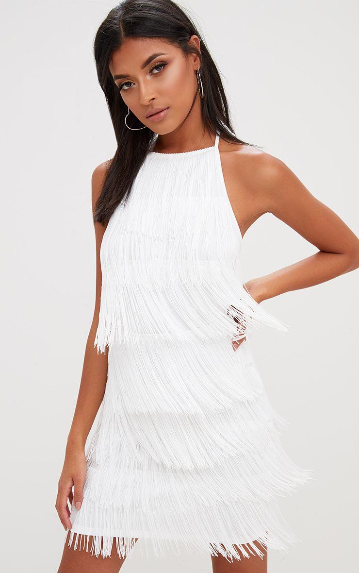 White Tassel Detail Halterneck Bodycon Dress 1