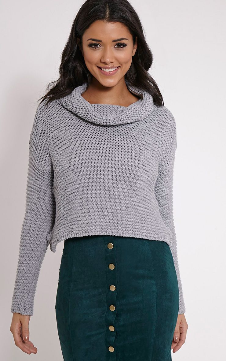 Resi Grey Roll Neck Crop Jumper 1