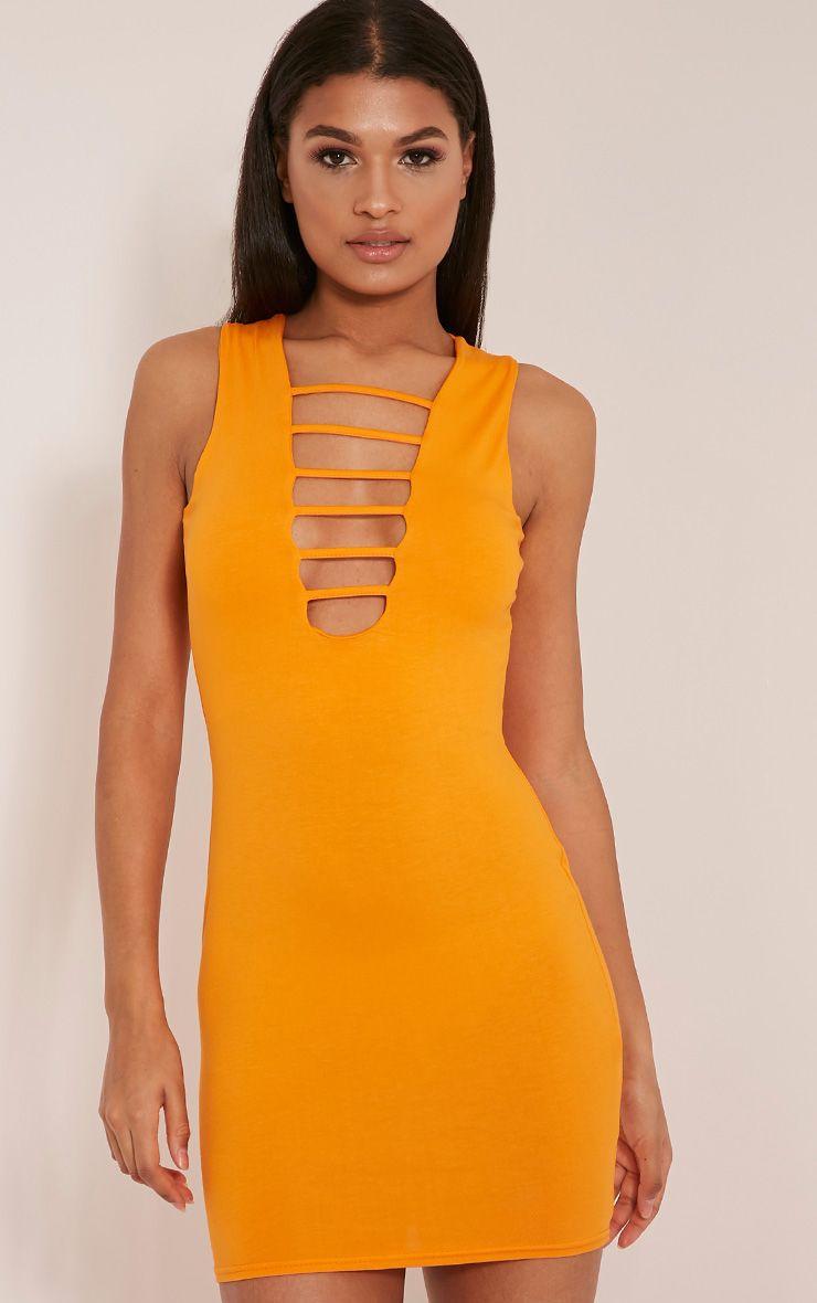 Cecil Bright Orange Strap Front Bodycon Dress 1