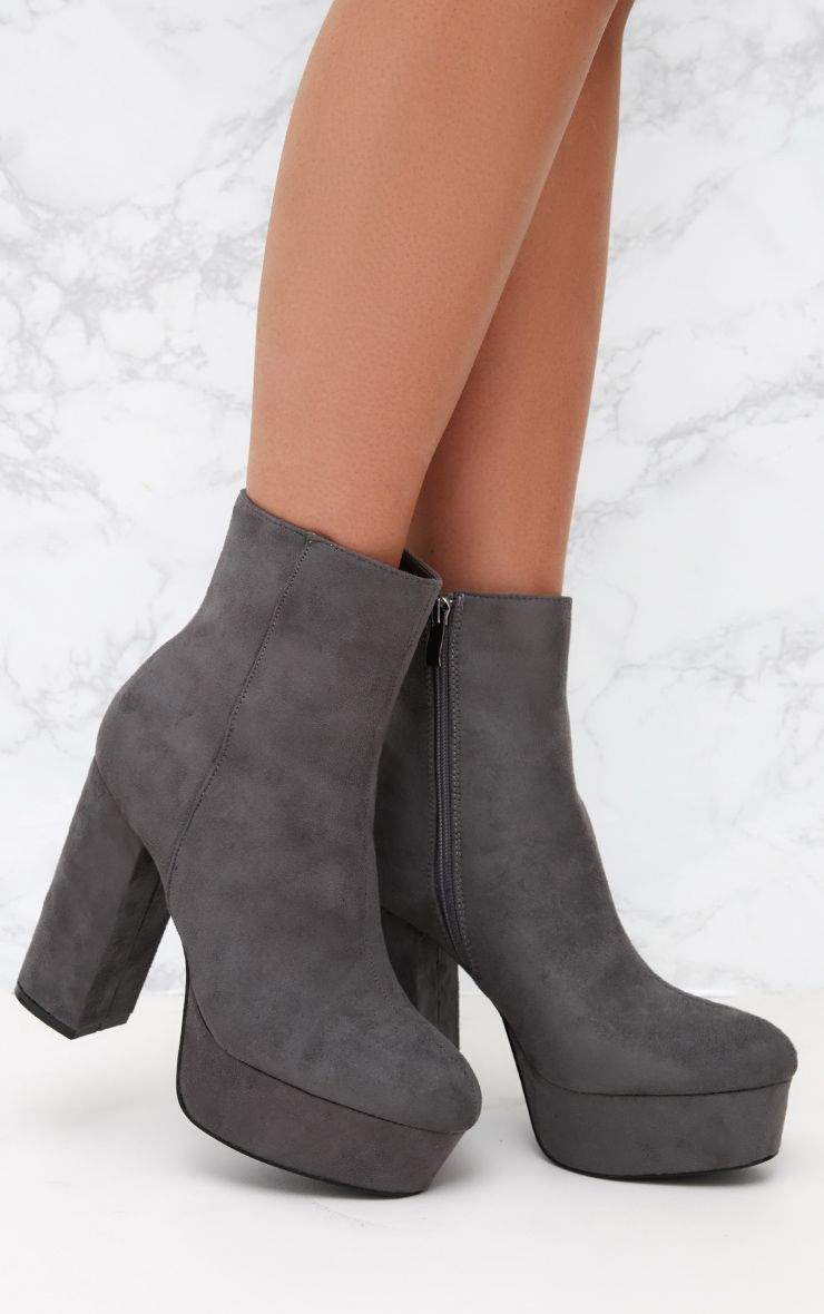 Grey Faux Suede Block Heel Ankle Boot