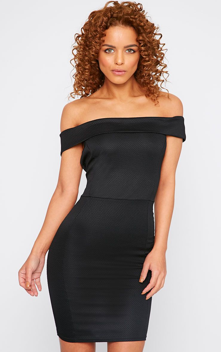 Alyssa Black Textured Bardot Mini Dress 1