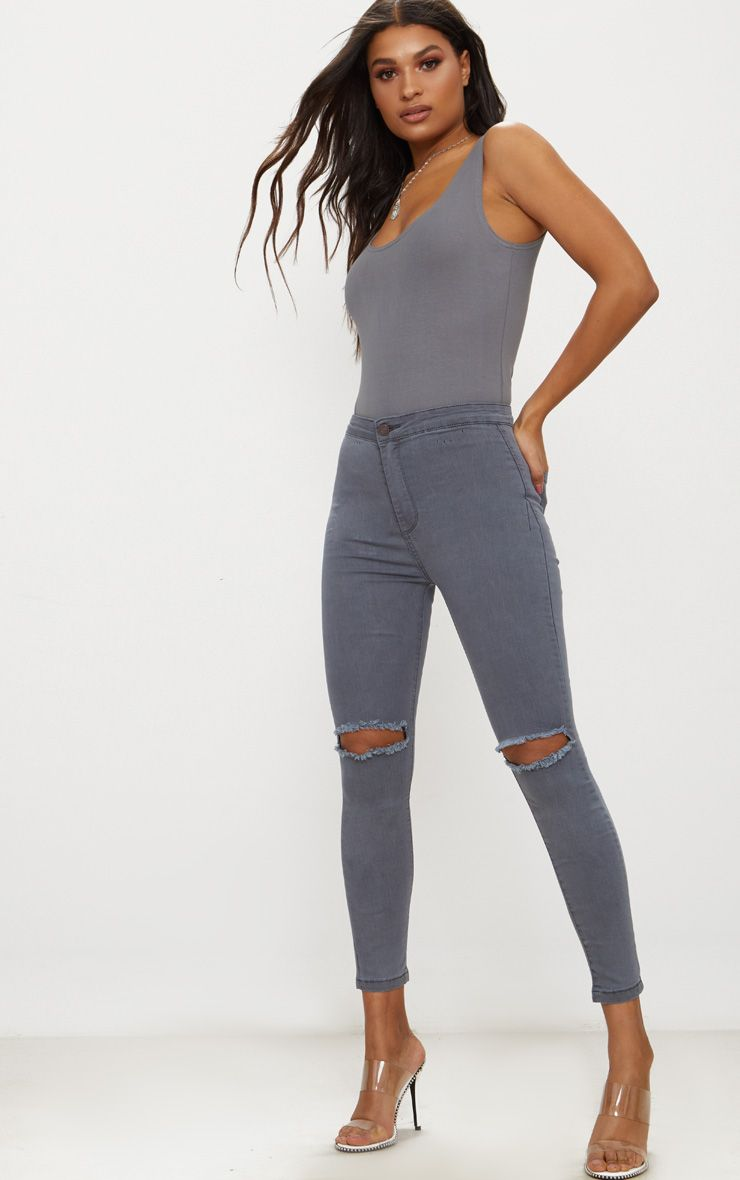 Grey Ripped Knee Skinny Jean