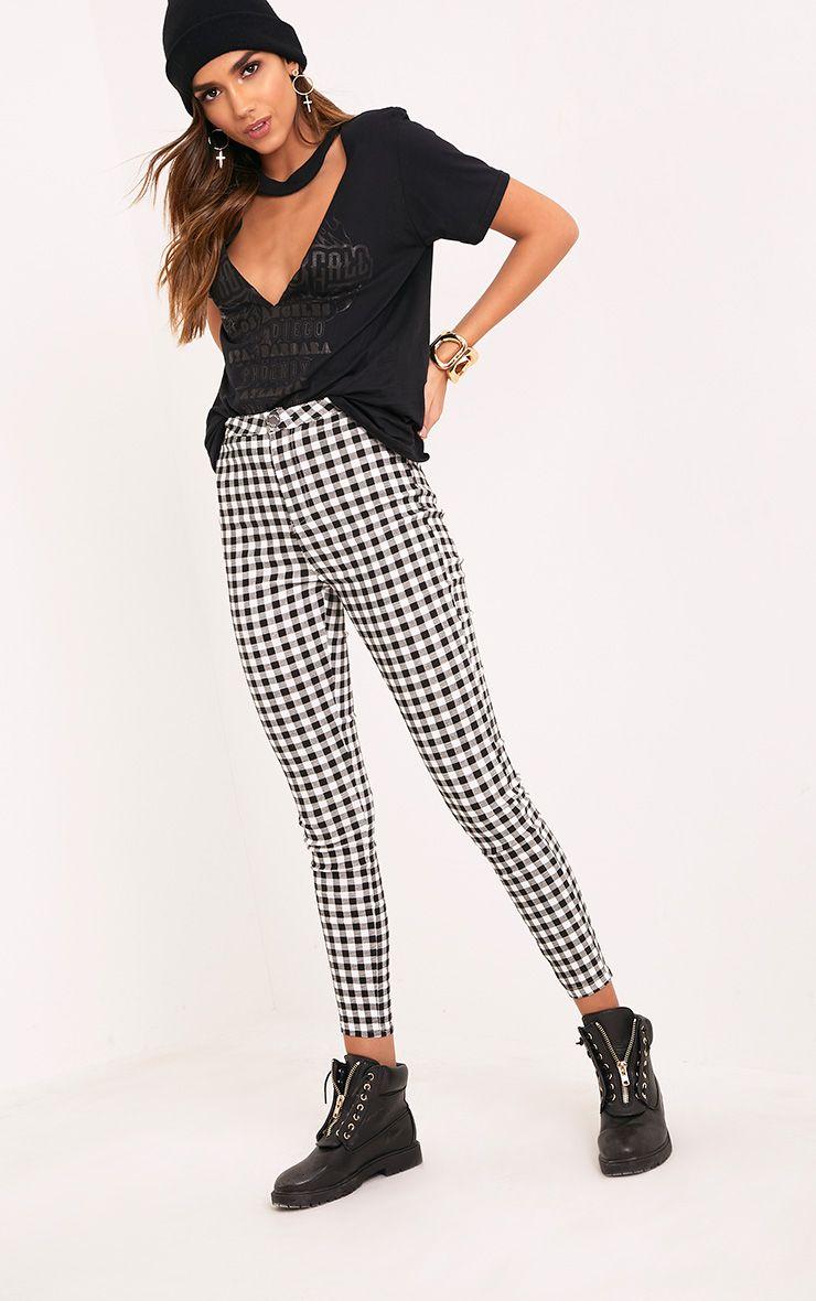 Stefanie Monochrome Gingham Skinny Trousers