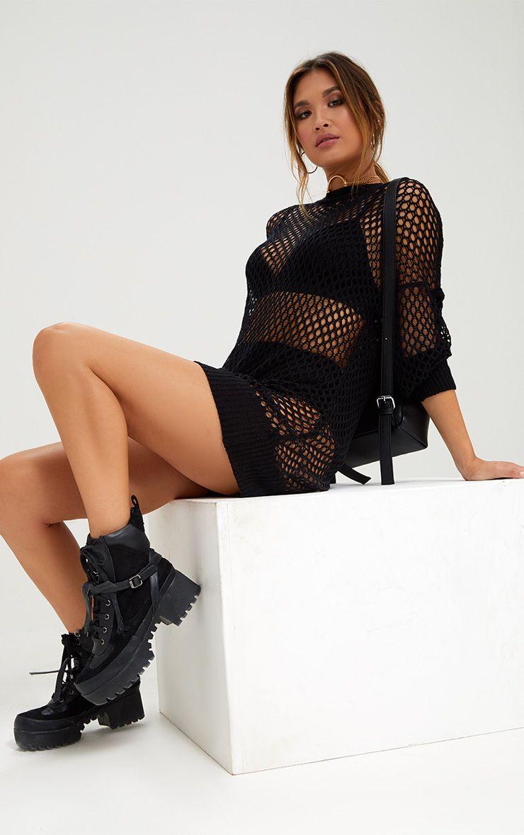Black Mesh Crochet Jumper Dress