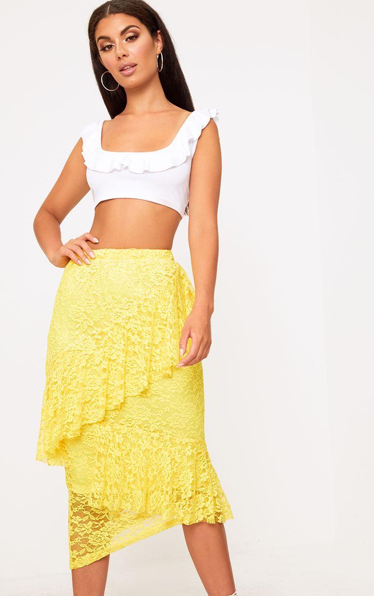 Yellow Asymmetric Long Line Lace Midi Skirt