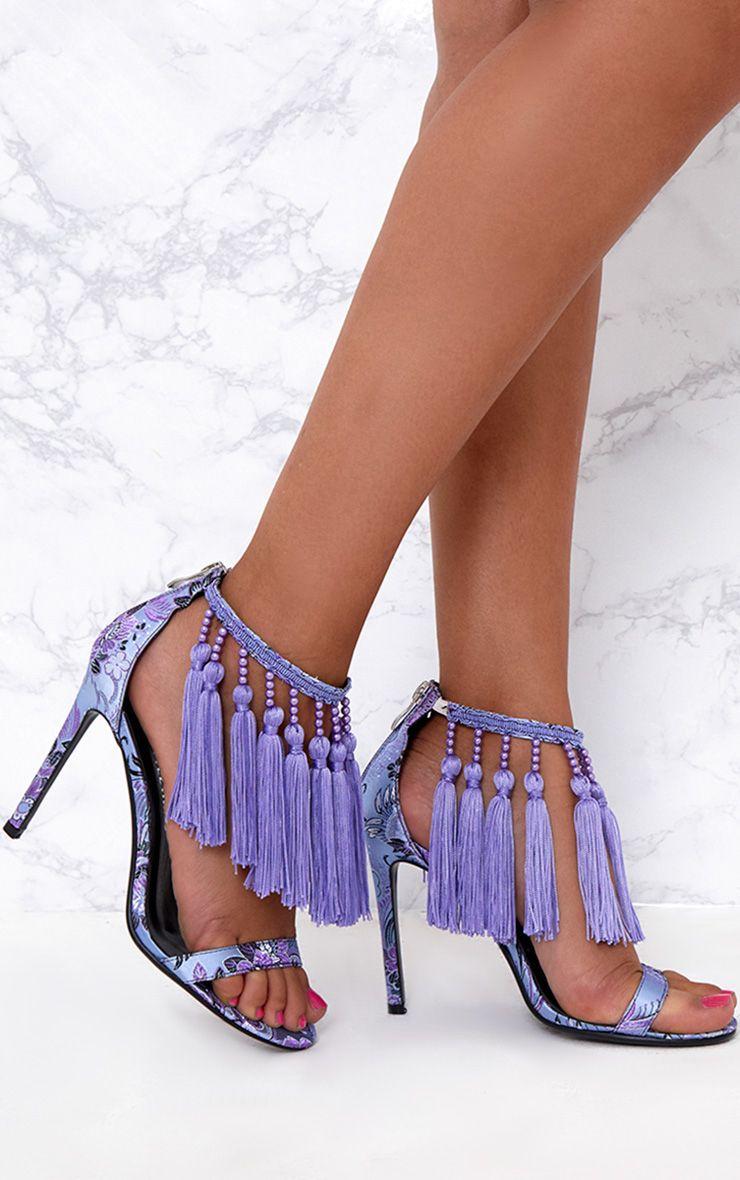 Purple Premium Tassel Embellished Heels