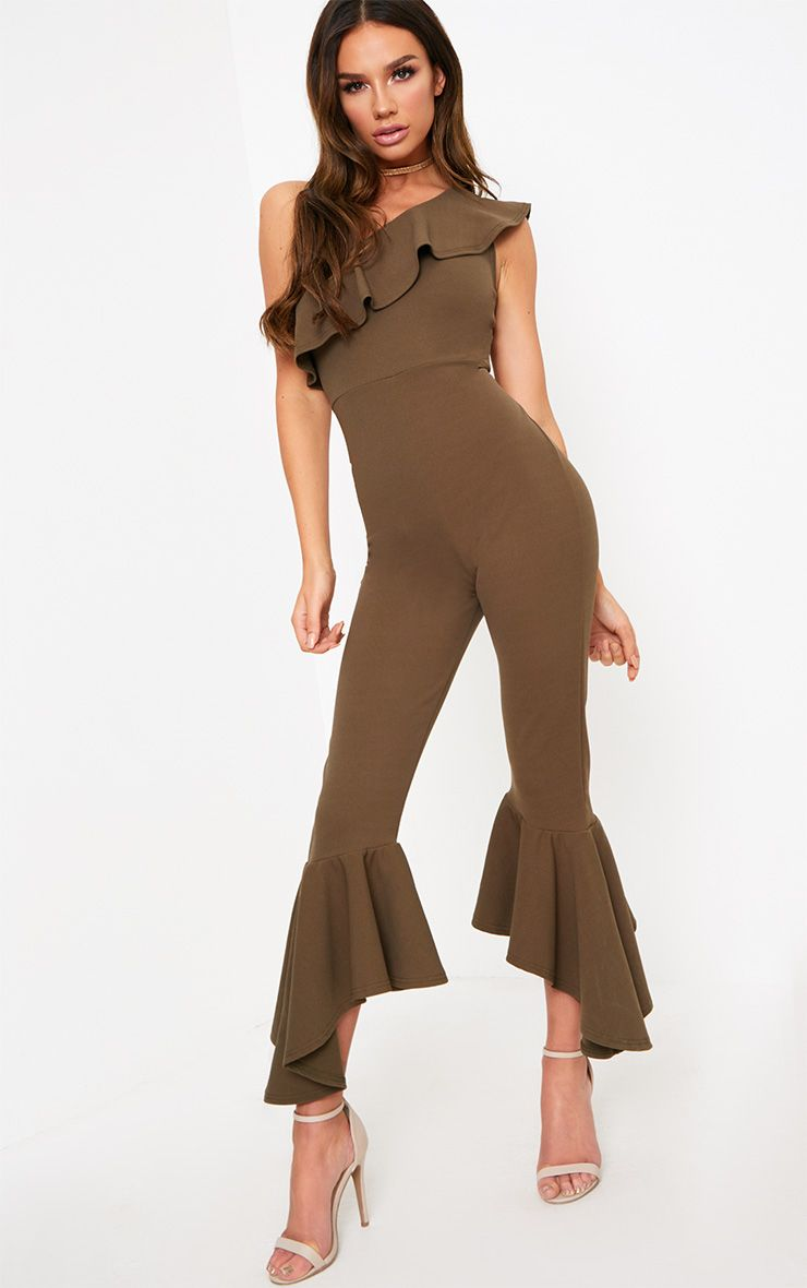 Khaki One Shoulder Frill Detail Flared Ankle Jumpsuit
